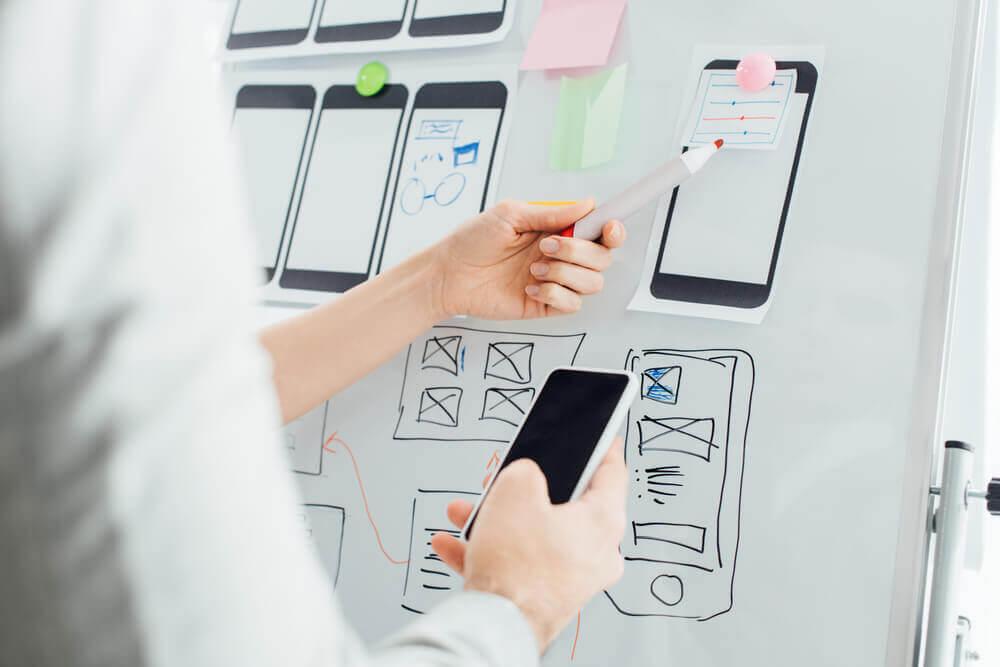 App design on whiteboard