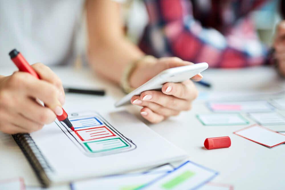 Woman designing app