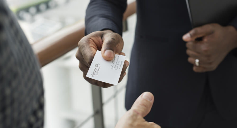 Man offering business card