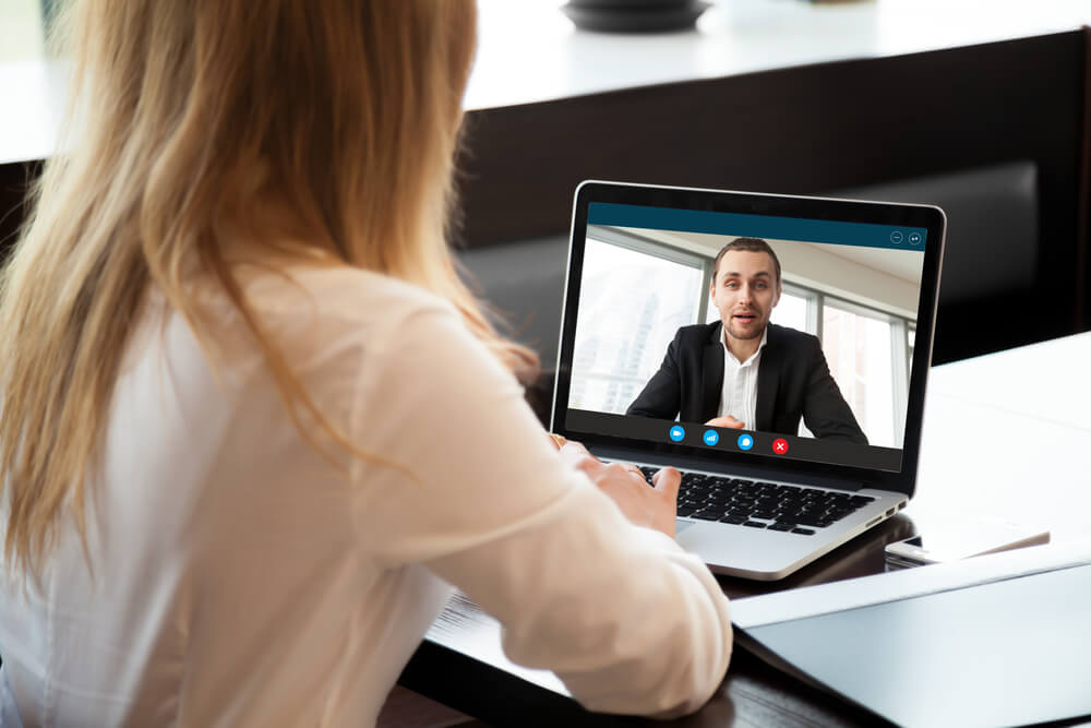 Woman interviewing via video call