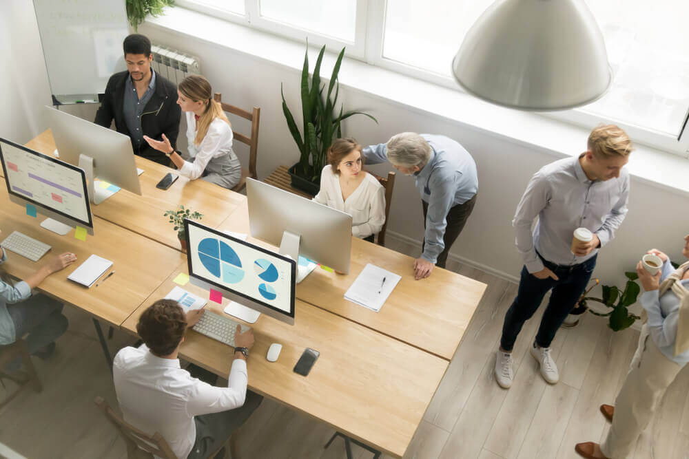 A coworking space with people working together